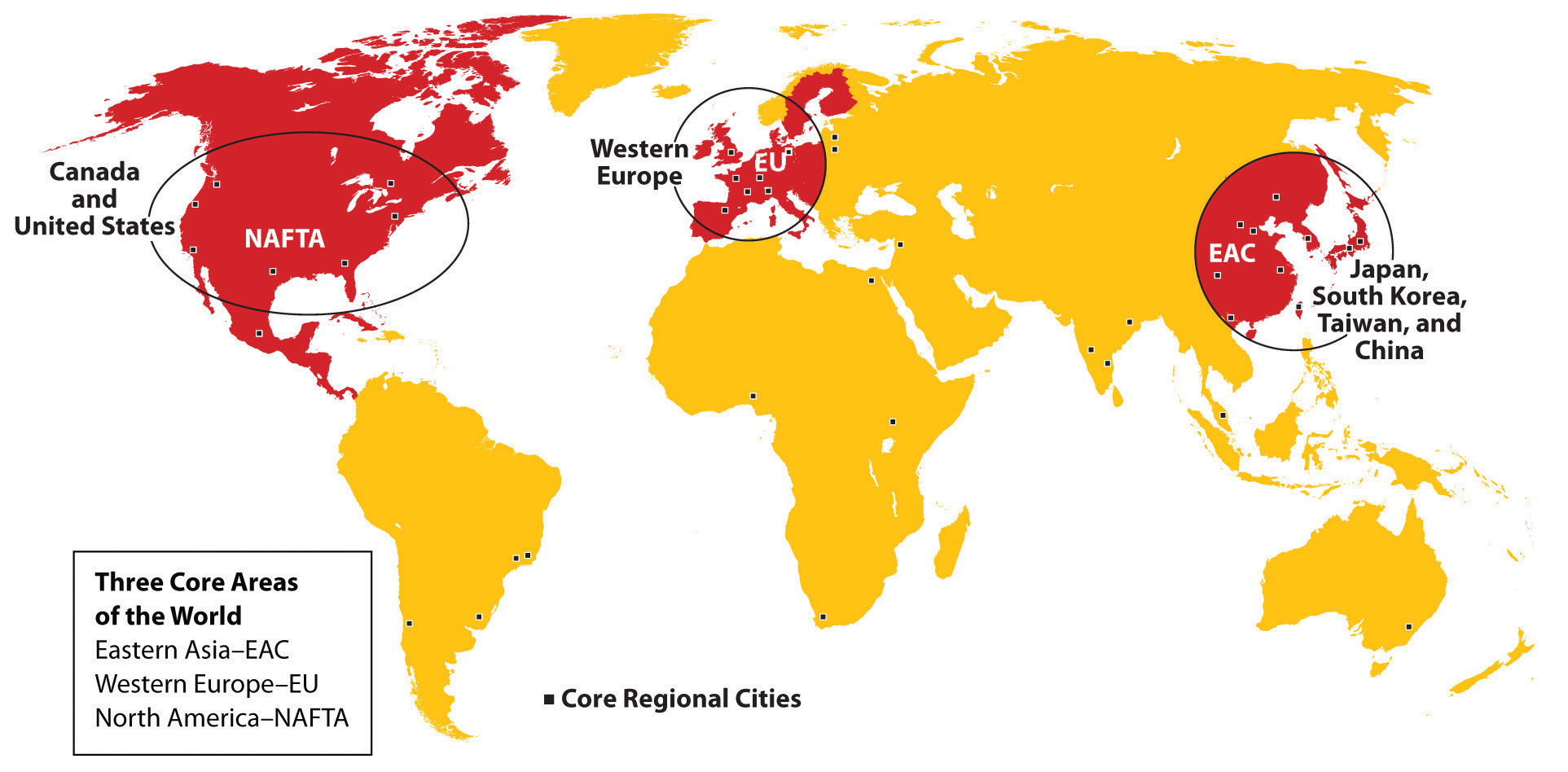 Core Areas of the world